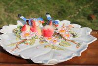 Wholesale peach fruit decorations resale online - white ceramic birds peach fruit Candy Storage dish Dessert Snack Salad plate home decor wedding decoration handicraft figurine