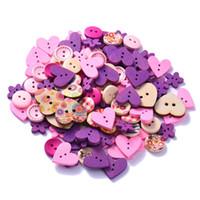 boutons bleus mélangés achat en gros de-100pcs mixte 2 trous bricolage en bois boutons rose / café / bleu coeur motif boutons décoratifs ajustement couture scrapbooking artisanat