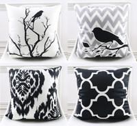 almohadas de pájaro blanco negro al por mayor-Cojín blanco y negro al por mayor de la cubierta moderna del estilo geométrico ondulado raya árbol pájaros flor decorativa fundas de almohada suave