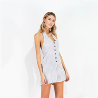 2a18111fead3 Striped Jumpsuits For Women V-Neck Sleeveless Female Romper Halter Backless  Bodysuits Feminino Drawstring Bowknot Playsuit X6005
