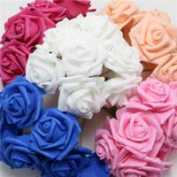 Wholesale white rose stem resale online - Beige Wedding Bride Artificial Craft Bouquet Blue Foam Rose Marry Diy Crimping White Decoration Champagne Flower With Stem pc