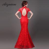 robes chinoises modernes achat en gros de-Sexy Cheongsam Rouge Dentelle Dos Nu Modern Qipao Robe Robes Orientales Chinoises Robes De Mariée Traditionnelles Longue Qi Pao Livraison Gratuite