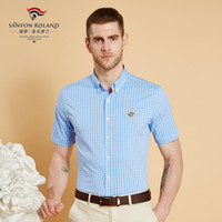 Wholesale checked slim fit shirt - Sanfon Roland Brand Cotton Wholesale 2018 Men Casual Shirts Summer Male Short Seeve Slim Fit Plaid Shirts Mens Checked Dress Shirts SFLD6061