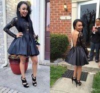 sırtsız siyah kokteyl elbiseleri toptan satış-Siyah V Backless Parti Elbiseler Jewel Boyun Uzun Kollu See Through Küçük Mezuniyet Elbiseleri Saten Üstü Diz Boyu Mini Kokteyl Elbiseleri