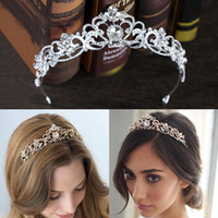 Wholesale gold birthday tiara - Rose Gold Wedding Bridal Crown Queen Crystals Royal Crystal Wedding Crowns Stone Headband Hair Gold Masquerade Birthday Party Tiaras
