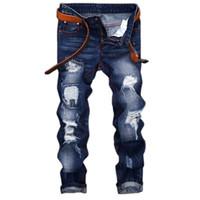 pantalones metrosexuales al por mayor-Hombres Agujero Metrosexual Pantalón Recto Jeans Destruidos Marca Casual Ripped Jeans Retro Hombres Vaquero Pantalones Denim Alta Calidad