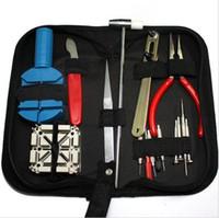 kit de reparación de batería al por mayor-GOOSUU para relojeros reloj reparación kit de herramientas reloj batería cambiar removedor Tool Kit 16 piezas un conjunto con bolsa