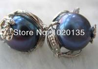 ingrosso perle d'acqua dolce nere barocco-orecchini di perle d'acqua dolce barocche nere 12-13mm FPPJ