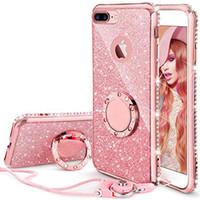 стойка для бампера оптовых-Для iPhone 7 плюс, 8 Плюс блеск Bling алмаз горный хрусталь бампер с кольцом стенд Kickstand Блестящие для девушки женщины