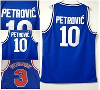 Wholesale color white jersey basketball - Petrovic Throwback Jerseys 3 Cibona Zagreb College Basketball 10 Drazen Petrovic Jersey All Stitched Color Blue For Sport Fans Top Quality
