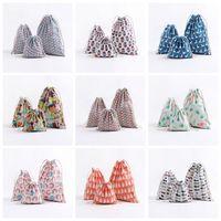 Wholesale clothes wraps online - Christmas Gift Bag Flamingo Storage Bag Cotton Linen Drawstring Bundle Bags Candy Tea Gift Wrap Bag Decorations set GGA704