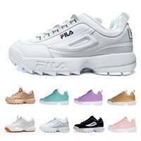the latest 204ee 5c6d8 Original Fila Disruptores Zapatillas de running para mujer Hombre Negro  Zapatos casuales Blanco Arena Gris Oro II 2 S FILE Sports Sneaker