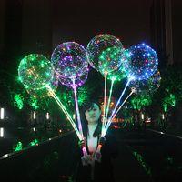Wholesale transparent latex balloon - Bobo Ball 18inch Transparent Led Light Balloon Round Bubble Helium Balloons Party Birthday Wedding Balloons 300pcs OOA3888