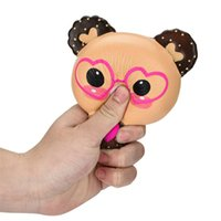 Wholesale hot toys silicone online - Lovely Glasses Bear Squishy Slow Rebound Toy Cartoon Squishies Animal Shape Decompression Toys Hot Sale rba C