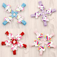 Wholesale bb accessories - New 100pcs lot Glitter Unicorn Hairclips Cartoon Animal Hair Clips Cute BB Hairpins Kids Headwear Hair Accessories for Girls