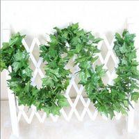 ingrosso piante di edera falsa-12 pz / lotto 2.2 m artificiale piante finte verde foglie di edera uva artificiale vite vegetazione ghirlanda di nozze decorazione della casa del fiore a buon mercato