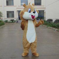 trajes de colas marrones al por mayor-Casco marrón Ardilla de cola grande Disfraces de la mascota Ropa de dibujos animados Fiesta de cumpleaños Mascarada