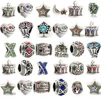 ingrosso braccialetti europei di fascino pandora-Branello di fascino della lega di promozione con i gioielli di stile retrò europeo di cristallo per la collana del braccialetto di Pandora Nuovo arrivo