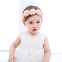 bebek düğüm kravat baş bantları toptan satış-Bebek Pembe Şifon Çiçek Desen Hairband Bebek Yürüyor Yenidoğan Bow Tie Turban Knot Kafa for1-4 yaşında