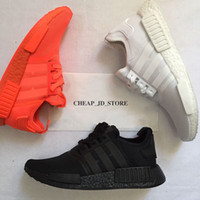 Wholesale Runners Lights - 2018 NMD R1 Running shoes Japan Triple black white red men women Orange Classic trainers Shoe Runner sports shoes Sneaker 36-45