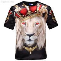 swag novo da cópia da camisa de t venda por atacado-Moda-nova moda feminina homens hip hop coroa leão impressão t shirt dos homens 3d compressão t-shirt dos ganhos tshirt homme roupas de marca para homens
