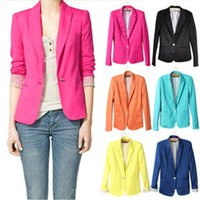 Wholesale women stylish blazers - 2018 new hot stylish and comfortable women's Blazers Candy color lined with striped suit Free Shipping WL2314