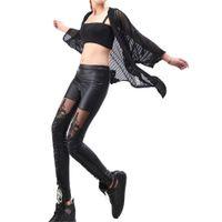 wholesale leather leggins Australia - 2018 Sexy Punk Black faux leather lace bodycon Patchwork leggings for women high waist elastic Hip bandage fitness Slim leggins