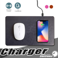 Wholesale luxury mouse resale online - Qi Wireless Charger Mouse Pad luxury leather materail mobile phone charger mouse pad For iphone X plus Samsung s9 plus Smartphone