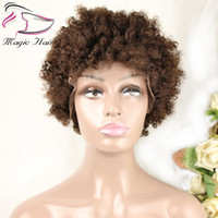 Wholesale natural human hair afro wigs resale online - Evermagic hair afro kinky curly wig Brazilian remy wigs for women black natural afro hair human hair wigs color