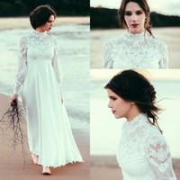 Wholesale high neck ankle length wedding dress resale online - Boho High Neck Long Sleeves Wedding Dresses Lace Chiffon Empire Waist Ankle Length Beach Wedding Gown