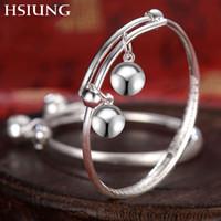 ingrosso campane di braccialetti del bambino-Bracciale bambino argento bracciale bambino argento bracciale anello campana luna piena