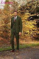 Wholesale Men S Marriage Suits - Wholesale-Linyixun Latest Coat Pant Designs Green Tweed Suit Men Formal Prom Slim Fit Blazer Gentle Dinner Marriage Custom 3 Piece Tuxedo