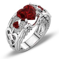 rote herz diamanten ring großhandel-Victoria Wieck Hot Sell Luxus Schmuck 925 Sterling Silber Herz Cut Red Rubin CZ Diamant Edelsteine Prinzessin Feder Frauen Ehering Ring