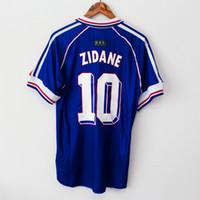 camiseta copa mundial de fútbol francia al por mayor-1998 FRANCIA copa del mundo campeones RETRO VINTAGE ZIDANE HENRY MAILLOT DE FOOT Tailandia camisetas de fútbol de calidad uniformes Fútbol Jerseys camisa