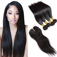Wholesale double drawn extensions - Brazilian Straight 4 Bundles Virgin Human Hair With Lace Closure 7a Brazilian Virgin Hair Double Drawn Virgin Cheap Hair Extensions