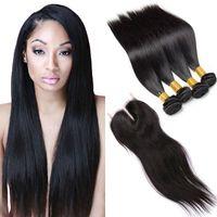 Wholesale 7a human hair closure for sale - Group buy Brazilian Straight Bundles Virgin Human Hair With Lace Closure a Brazilian Virgin Hair Double Drawn Virgin Cheap Hair Extensions