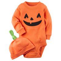 orange clothes para la venta al por mayor-Venta al por mayor 2018 New Orange Baby Clothing para bebés recién nacidos bebés niños niñas trajes Halloween calabaza Romper ropa caliente venta envío gratis