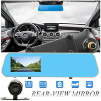 Wholesale dvr digital camcorders resale online - 2Ch quot P full HD car DVR digital mirror camcorder vehicle driving recorder anti glare rearview parking grid G sensor cycle recording