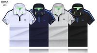 importa dos al por mayor-Nueva camiseta POLO para hombre de 2018 Moda y cómodo Patrón de dos colores de color rojo claro y azul de moda Importado 100% algodón Multicolor