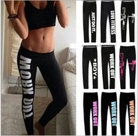 Wholesale ladies yoga pants wholesale for sale - New Fashion Letter Printing Ladies Women Sports Yoga Gym Wear Trousers Leggings Workout Running Fitness Pants
