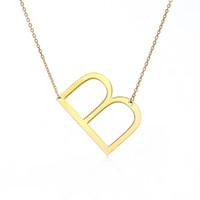 pendentif grand coeur en alliage achat en gros de-2018 nouveau pendentif en acier inoxydable 26 anglais alphabet collier bijoux de mode pendentifs cadeaux