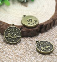 encantos de virgo al por mayor-12pcs / lot Antique bronze virgo charms colgantes, Zodiac Charm 20x18mm