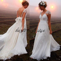 2018 Summer Beach Sexy Backless Wedding Dresses Chiffon A Line Deep V Neck Backless Lace With Bow Sash Custom Made Boho Bridal Gowns