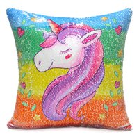 Wholesale animal cushions for kids online - 2 Styles Sequins Unicorn Cushion Covers Sofa Decorative Lucky Animal Cushion Cover Reversible Pillow Case Gift For Baby Kids