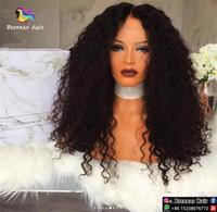 insan dantel peruk malezya toptan satış-Kıvırcık İnsan Saç Peruk Tam Dantel Brezilyalı Malezya Hint Kıvırcık Saç Tam dantel Peruk Remy Bakire Saç Siyah Kadınlar Için Dantel Ön Peruk İNGILTERE ABD
