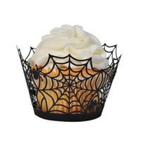 ingrosso taglio laser nero-50pcs Spiderweb Laser Cut involucri del bigné involucri fodere matrimonio festa di compleanno decorazione torta di Halloween (nero)