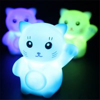 Wholesale led novelty lamp changes colors - Novelty Magic PVC Led Lucky Cat Night Light Flashing Lamp Changing Colors Colorful Bedroom Holiday Home Decor Kids Wedding Gift