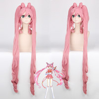 Wholesale soldier women costume for sale - Group buy Pretty Soldier Sailor Moon Chibi Usa Long Straight Cosplay Wigs for Women Female Synthetic Hair Wig Two Ponytail and Bun Pink