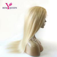frente de encaje virgen reinas al por mayor-Remy Queen 10A Blonde 613 # Lace Front Wig Sedoso Recta 130% Density Virgin Remy Hair Transpirable Encaje con Cabello de Bebé