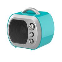 mini-boombox-radio großhandel-Mini Lautsprecher Fernseher Modell Bluetooth Lautsprecher Radio FM Boombox Tragbare Retro TV Soundbar Musikverstärker Für Smartphone